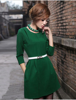 women's casual winter dresses above knee three quarter sleeve solid dress o-neck collar silm new 2014 dresses 4XL