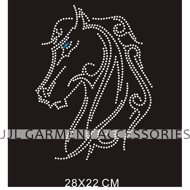 New style horse Motif free shipping hotfix rhinestones motif heat transfer garment accesspries, welcome customized design(China (Mainland))