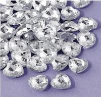 500 pcs / lot 12mm Silver Acrylic Heart Shape Confetti Wedding Valentines Table Diamond confetti Wedding Table Decoration