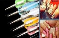 2 Way 5pcs One Set Dotting tool Pen Marbleizing Painting Tool Nail Art Paint Nail Polish Dot Set