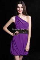 2014 Real Sale Elegant One Shoulder Vestidos De Fiesta Chiffon Cocktail Dresses Boasts A Sequin Waistband Party Gown 2014bridalk