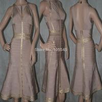 2014 Summer women sexy  bodycon beige  Bandage evening party Dress J554