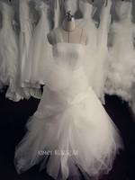 2014 New Arrival Rushed Halter Sweep/ Brush Train Gown Vestidos De Noiva Vestido Smile Advanced Dream Wedding Dressbridalk