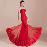 Selling Court Train Sleeveless Sweetheart Tail Sexy Dress Formal Bride Evening 2014 Fashion Long Slim Female Designbridalk
