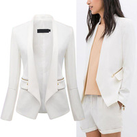 Trendy Women's Solid White Color Notched Collar Stitching PU Faux Leather Long Sleeve Zipper Pockets Slim Blazer Suit OL Jacket
