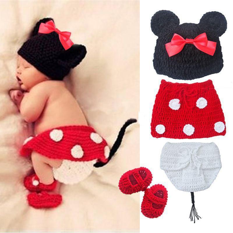 Popular Bebé recém-nascido Menino Crochet Knit Costume Foto Fotografia Prop Outfit Red Minnie Mickey Mouse(China (Mainland))
