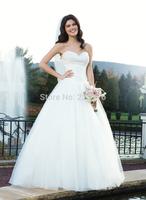 2014 New Sweetheart Romantic Vestido Vestidos De Noiva Tube Top Beading Slim Waist Puff Train Wedding Dress Bandage Gownbridalk