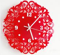 Crystal Acrylic crafts decorative Wall clocks circular floral frectwork clocks 30cm silent movement