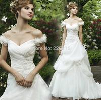 2014 Vestidos De Novia Fashionable Bridal Gown Neckline Train Luxury Wedding Dress Quality Fashion Bandage Vintage Gownbridalk
