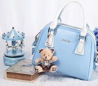 Luxury brand blue color little bear decoration genuine 100% leather material  leather messenger bag handbag for girls or women