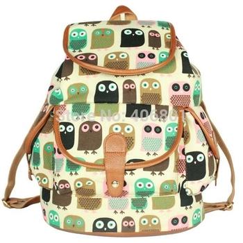4 цветов 2014 мода обратно в школу новое поступление сова рюкзак лиса модели женские сумки женщины холст рюкзак свободного покроя мешок школы