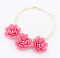 Min. order $10USD(Mix order)Candy color Imitation pearl big sweet flower necklace short necklace