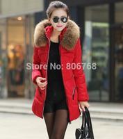 Drop Shipping New jacket winter coat thicken Slim female raccoon fur collar long coat women parka winter coat plus size