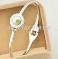 silver plsted  titanium steel B+pearl bangles