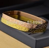 gold/rose 2 colors titanium steel square 5 stars bangles