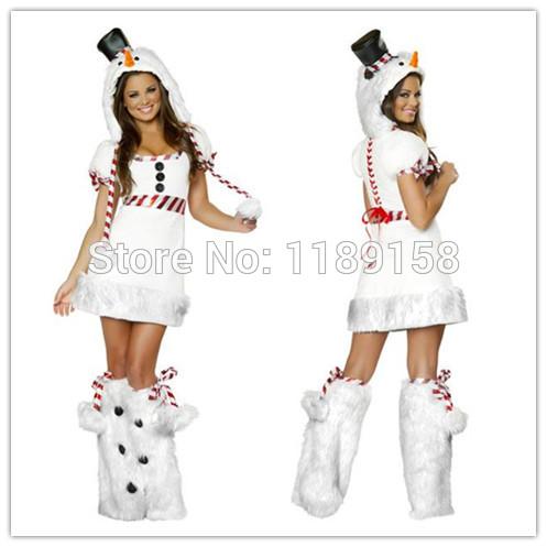 2014 christmas costume dress white snowman costume sexy girls dress