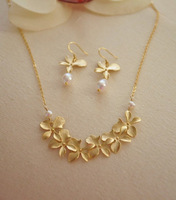 Gold Orchid Lei Flower  14K gold filled chain, freshwater pearls, cute, delicate, feminine