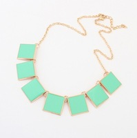 Min. order $10USD(Mix order)3 Colors New Fashion Western statement elegant Chain Pendant Square Party choker necklace jewelry
