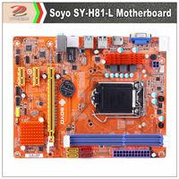 Soyo SY-H81-L Dragon version mother board supports Intel LGA1150 processors, recent Haswell architecture, USB3.0 SATA3.0