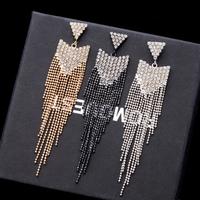 (Min.mix order is $10)2014 Prominent Personality Feminine18K gold-plated Rhinestone Metal Tassel Earrings women Jewelry