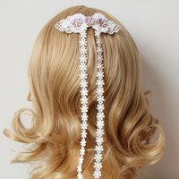 2014 Fashion Jewelry Hair Accessory Elegant Women Handmade Purple Flower White Lace Tassel Hair Clip Pin Barrette Bridal Wedding