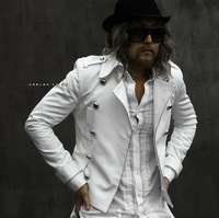 New Men's fashion Large lapel double-breasted jacket coat Korean version casual Slim nightclub stage costumes clothing