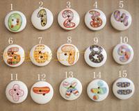 15mm  figure log Round DIY Baby children's cartoon cute wooden button Painting digital Mix design 1~9 + - = 200pcs/lot