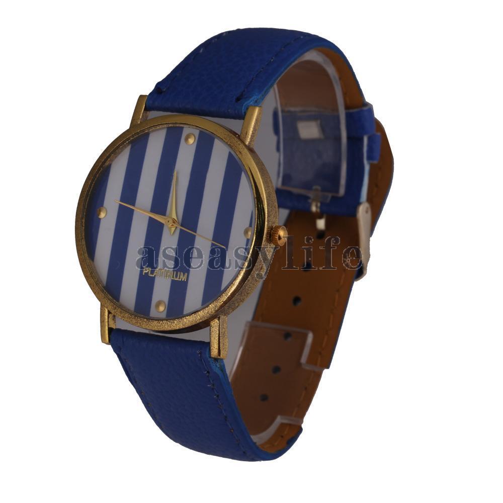 Free Shipping Hot Sale Stylish Woman Man Quartz Analog Wrist Watch Strip Dial Blue Band ASAF(China (Mainland))