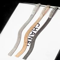 (Min.mix order is $10)  2014 Hot Sell Fashion Trends Long Style 13.2*0.8CM 18K gold-plated Metal Tassel earrings women Jewelry
