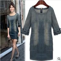 new fashion 2014 Women's denim loose one-piece high quality dresses three quarter sleeve plus size dresses free shipping