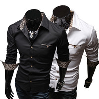 2014 Spring Fashion New leopard Print Long Sleeve Shirts Men,Outerwear Men's Casual Shirts,Slim Design,#1399