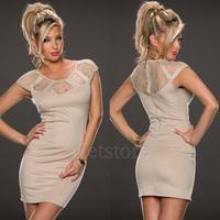 2014 New Fashion Lace Sexy Bodycon Zipper Dress Short Sleeve Summer Autumn Mini Evening Women Girl Club Party Dresses 5476