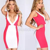 2014 New Arrival Summer Women Evening Girls Dress Bandage Bodycon dress nightclub o-neck Patchwork Party Sexy Dress  6873