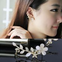 New Arrival Lovely Opal Flower No Pierced  U-shaped Ear Cuff  Cute Cat's Eye Ear Clip Jewelry For Women