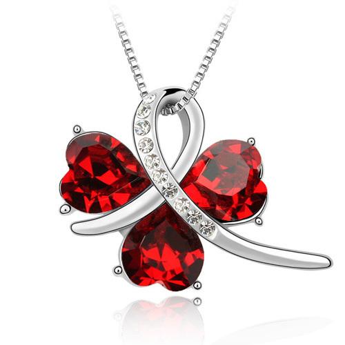 Blue Austria Elements Crystal three Leaf Clover Pendant Necklace, crystal pendant, 3-leaf clover,(China (Mainland))