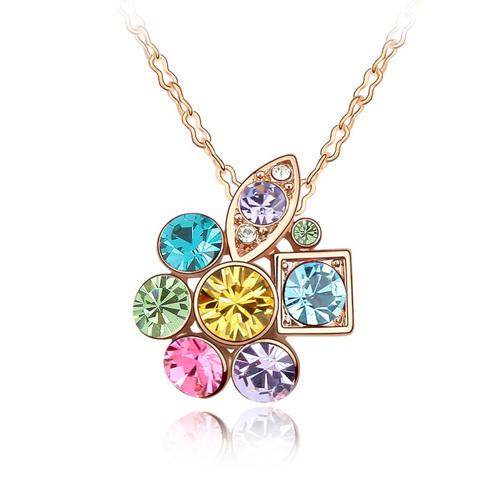 Flower crystal necklace, rose gold titanium, CZ diamond, tiny everyday jewelry, jewellery for sensitive skin(China (Mainland))