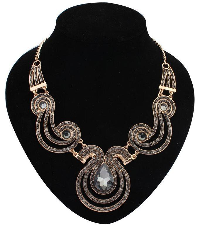 halloween Jewelry Vintage geometric personalized handmade bling party Ethnic style chunky Huge Metal rhinestone pendant Necklace(China (Mainland))