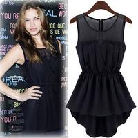 2015 Women Clothing New Fashion Slim Sleeveless Lace Dress Dovetail Casual Chiffon Swallowtail Ladies Summer Black Dresses