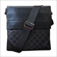 Lowest price 2014 New Plaid PU Leather Men Bag Fashion Men Messenger Bag small Business crossbody shoulder Bags Brown NO1827