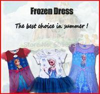 In STock Retail New 2104 children summer Frozen dress Girl Frozen Elsa's and Anna's dress Children clothes freeshipping Melee