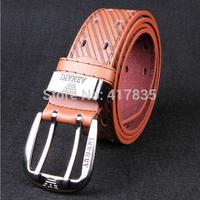 Wholesale 2014 Men's Cowskin Leather Belt Genuine leather Brand Needle buckle Belt Black Brown women belt Free shipping DHL