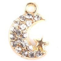 Newest 36pcs/lot On Sale 19*13*3mm Gold Plated Moon Charm Point Rhinestone Alloy Charms Fit Jewelry Handmake 161842