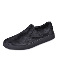 High-End Customized 2014 new European leisure loafer T stage BLACK horsehair shoes men's casual genuine leather shoes hand made