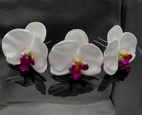 "30PX 2.8"" white Orchid Flower Hair Clip Hair Pin wedding Bridal Bridesmaid Party Corsage Choochie"