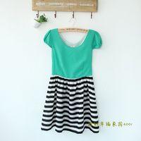 Color Block Chiffon Patchwork Brief Short-sleeve Slim Gentlewomen Princess One-piece Dress Summer