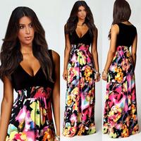 Free shipping 2014 New European Style Fashion Women Flower Print Maxi Dress V-neck Sleeveless Sexy Long Beach Dresses 7W00029
