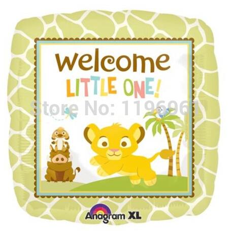 """Rei Leão """" Little One Welcome"""" 18 """" Mylar Balão Foil Simba , Timone e Pumba(China (Mainland))"""