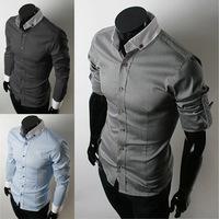 2014 New Men's Casual Luxury Stylish Slim Long Sleeve Shirts Turn Down Collar Black Blue Grey Plus Size