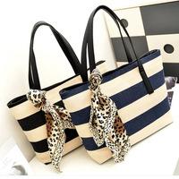Free shipping ribbons canvas handbag fashion striped women bag