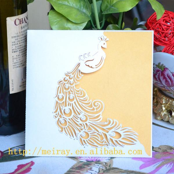 170 pçs/lote corte a laser verde, marfim pavão bolso cartão de convite de casamento 2014, convite de casamento original artesanato papel cartões(China (Mainland))
